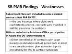 sb pmr findings weaknesses