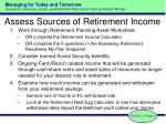 assess sources of retirement income