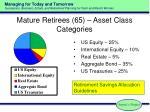 mature retirees 65 asset class categories