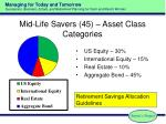 mid life savers 45 asset class categories