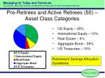 pre retirees and active retirees 50 asset class categories