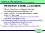 retirement needs calculators