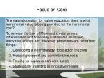 focus on core