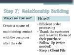 step 7 relationship building