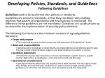 developing policies standards and guidelines following guidelines