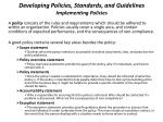 developing policies standards and guidelines implementing policies