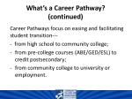 what s a career pathway continued