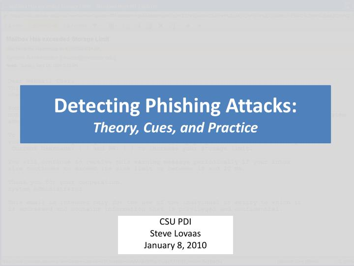 detecting phishing attacks theory cues and practice n.
