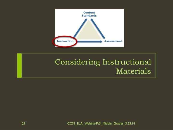 Considering Instructional Materials