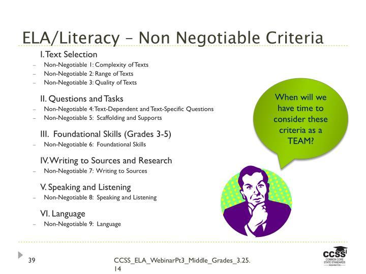 ELA/Literacy – Non Negotiable Criteria