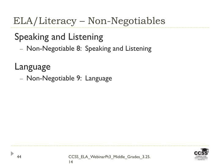 ELA/Literacy – Non-