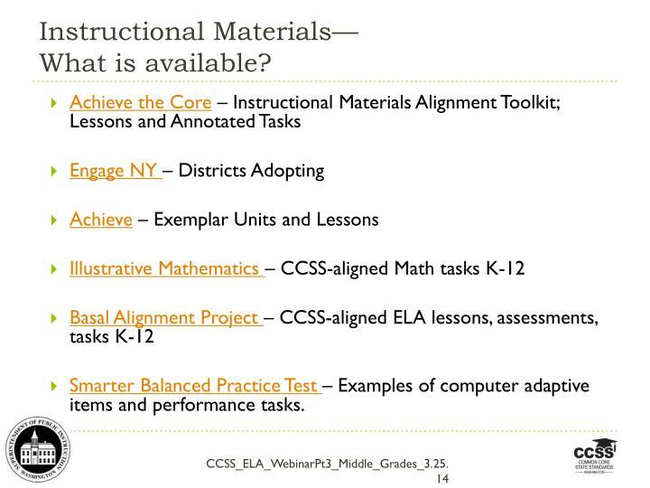 Instructional Materials—