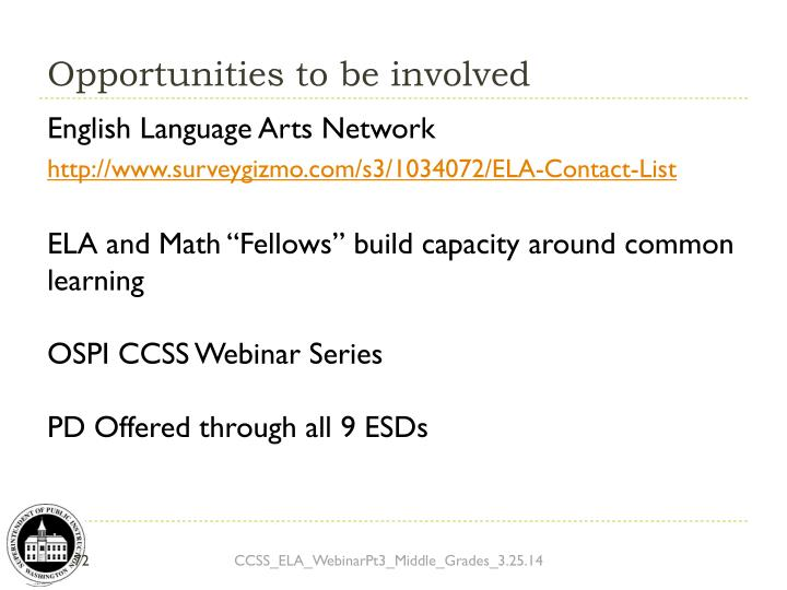 Opportunities to be involved
