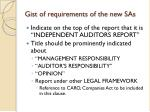 gist of requirements of the new sas