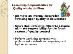 leadership responsibilities for quality within the firm