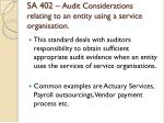sa 402 audit considerations relating to an entity using a service organisation