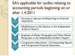 sa s applicable for audits relating to accounting periods beginning on or after 1 4 2011