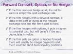 forward contract option or no hedge