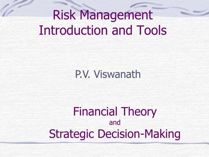 risk management introduction and tools n.