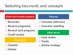 selecting keywords and concepts