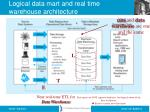 logical data mart and real time warehouse architecture