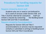 procedures for handling requests for section 504