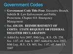 government codes