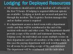 lodging for deployed resources