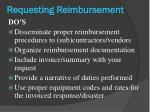 requesting reimbursement