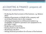 accounting finance prepares all financial statements