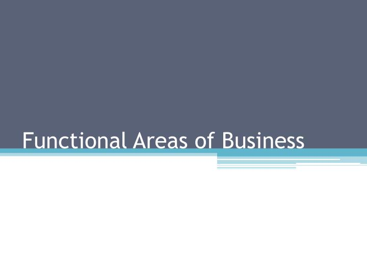 functional areas of business n.