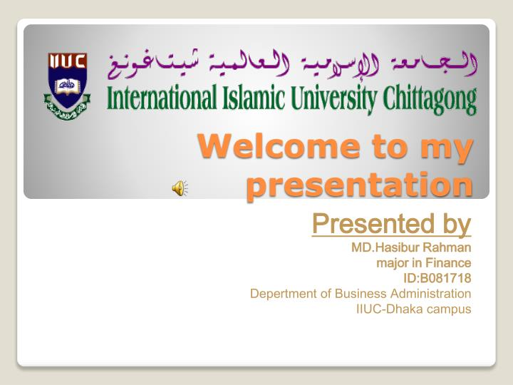 welcome to my presentation n.