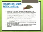 timesheets w2w dpn s and pay