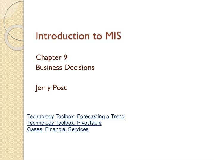 introduction to mis n.