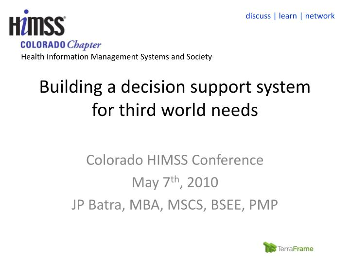 building a decision support system for third world needs n.