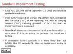 goodwill impairment testing