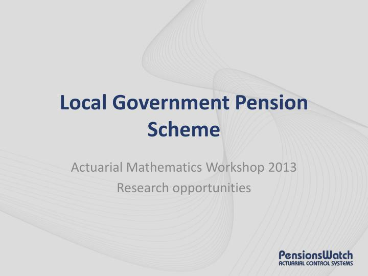 local government pension scheme n.