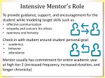 intensive mentor s role