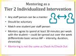 mentoring as a tier 2 i ndividualized intervention