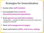 strategies for generalization