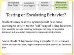testing or escalating behavior