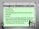 emergency violations list cont