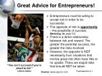 great advice for entrepreneurs