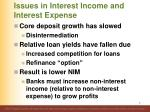 issues in interest income and interest expense