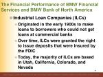 the financial performance of bmw financial services and bmw bank of north america