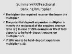 summary rr fractional banking multiplier