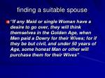 finding a suitable spouse