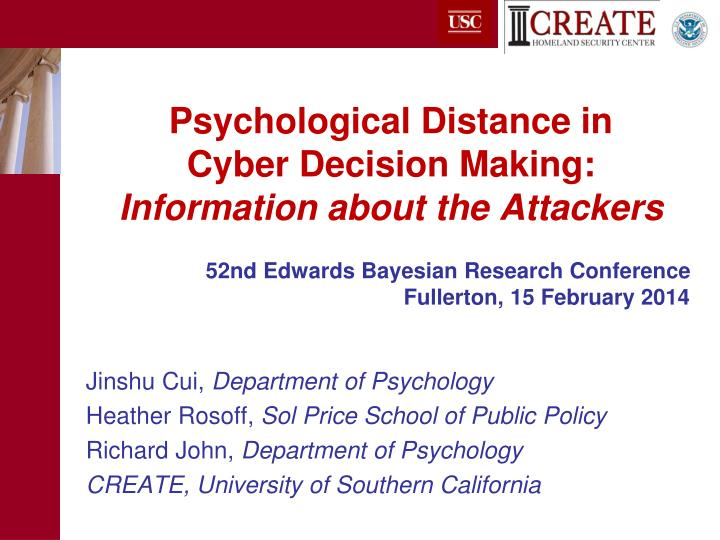 psychological distance in cyber decision making information about the attackers n.