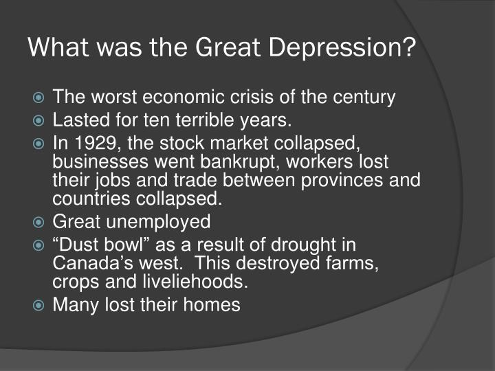 canada during the great depression essay Many countries, including canada, were caught in the great depression   during that time, it was a hard life for european jews as well  there are some.