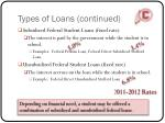 types of loans continued